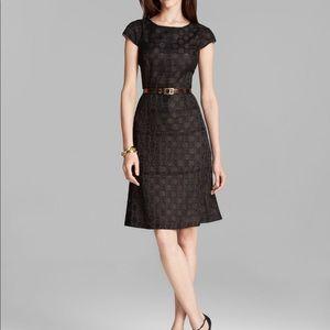 Anne Klein Black Polka Dot Jacquard Dress